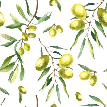 Watercolor olijftak naadloos patroon. De hand getekende bloemen textuur met natuurlijke elementen groene olijven, bladeren, en olijftakken. Vector illustratie.