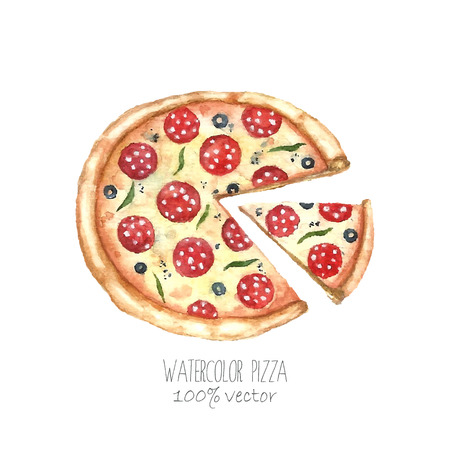 Watercolor pizza. Hand drawn pizza illustration. Food vector object isolated on white background.
