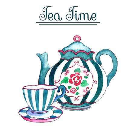 taza de té: Tetera y la taza de la acuarela en los fondos blancos. Ilustración del vector.