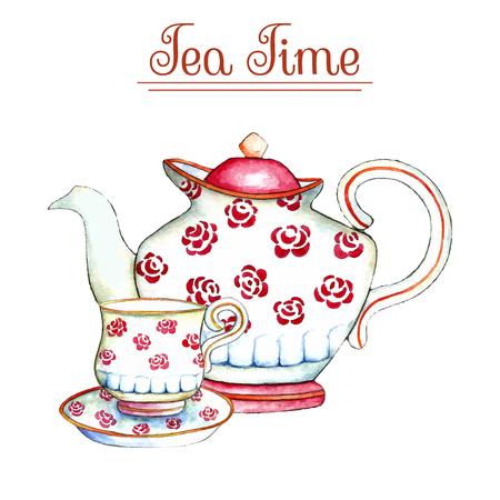 Tetera y la taza de la acuarela en los fondos blancos. Ilustración del vector. Foto de archivo - 59269124