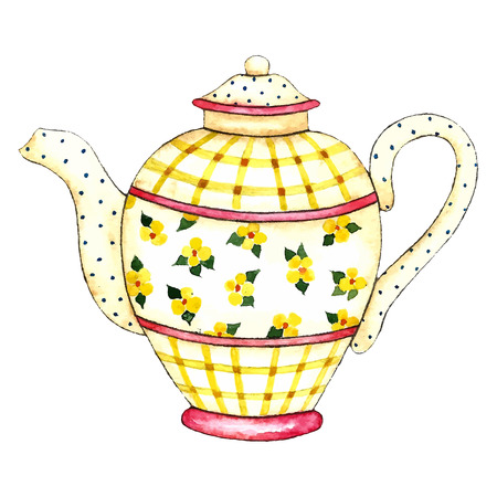 Watercolor teapot on the white backgrounds. Vector illustration. Ilustração