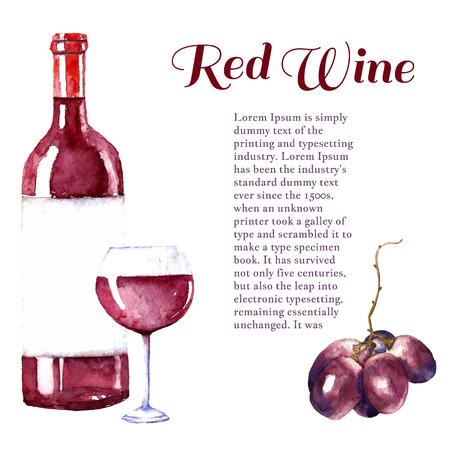 水彩のワインはデザイン要素ワイン グラス、ワイン瓶、テキスト ブドウです。ベクトルの図。  イラスト・ベクター素材