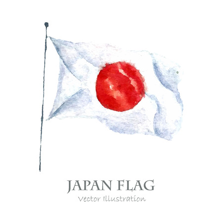 hinomaru: Watercolor Japan Flag. Hand draw illustrations. Vector Illustration