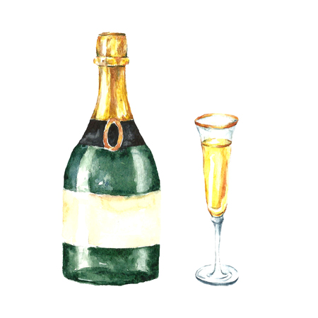 sparkling wine: Watercolor champagne bottle and glasses. Hand drawn sketch of wine glass.  A white sparkling wine sign. Restaurant, bar menu design.Vector