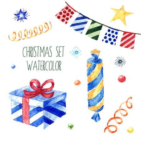 Watercolor christmas cute illustrations collection. Christmas set for scrapbook and design.Vector