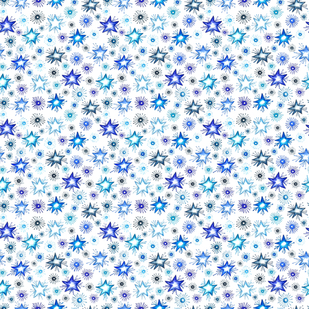 Watercolor blue seamless pattern. Hand drawn holiday repeating texture with deers, candy, pine branches, mistletoe and holly plants on white background. Winter wallpaper design. Vector
