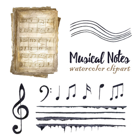 Watercolor black musical notes set. Treble clef and G clef, old music books, stave and different notes on white background. Greeting object art. vector