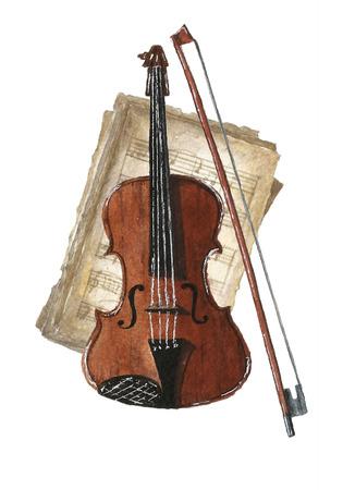 Retro watercolor musical notes set. Stock Illustratie