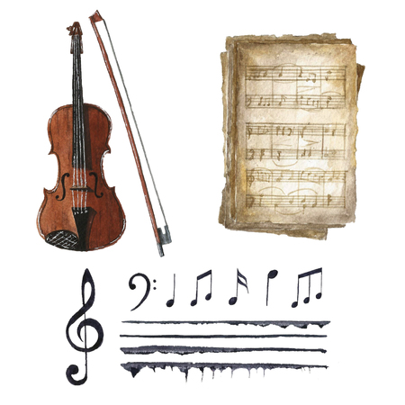 chiave di violino: Acquerello nero note musicali set con violino e l'arco. chiave di violino e G clef, vecchi libri di musica, doga, violino con arco e note diverse su sfondo bianco. Saluto oggetto d'arte. vettore