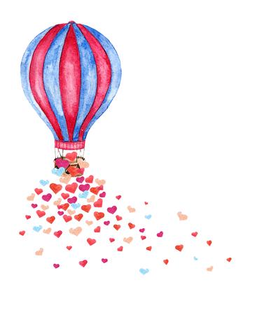 Acuarela brillante tarjeta con globo de aire caliente y muchos corazones. Dibujado a mano ilustración, collage de la vendimia con el globo de aire caliente aislado en el fondo blanco. Vector Ilustración de vector