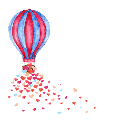 colorful: Watercolor bright card with hot air balloon and many hearts. Hand drawn vintage collage illustration with hot air balloon isolated on white background. Vector Illustration