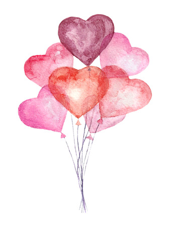 Watercolor bright card with air balloons. Hand drawn vintage collage illustration with heart balloons isolated on white background. Greeting object art. Vector Vettoriali