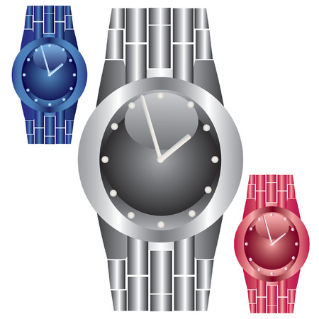 Watches in three colors on a white background. Stock Vector - 6217404