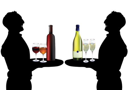 Two silhouettes of waiters with wine and champagne  Vector
