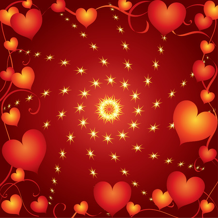 lovestruck: Abstract frame with hearts on a red background. Illustration