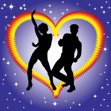 burning heart: The dancing couple on the background of a burning heart. Illustration