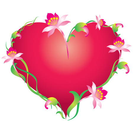 Vector heart, adorned with flowers and leaves. Vector