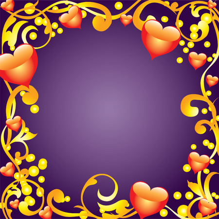 lovestruck: Abstract frame with golden ornaments and hearts  Illustration