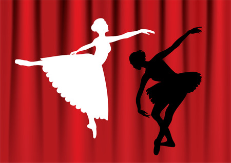 Dancing ballerina against a background of red curtains, Иллюстрация