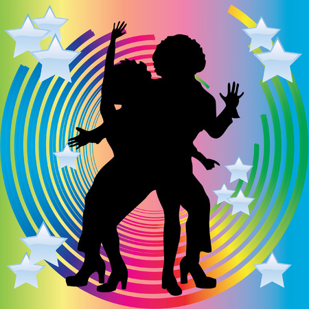 beauty contest: Silhouette of couples dancing disco against a background of circles and stars.