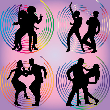 Four silhouettes of dancing couples on a lilac background  Vector