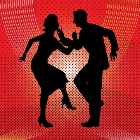 Silhouette of couples dancing against a red background.  Иллюстрация