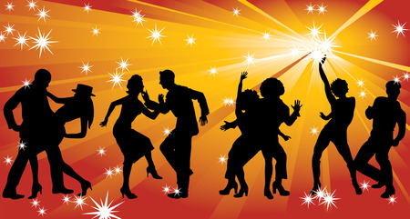 Four silhouettes of dancing couples against a background of golden rays and stars.