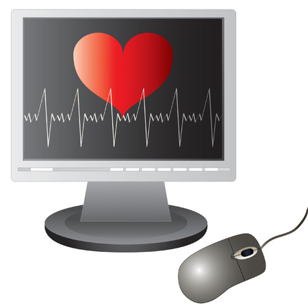 Vector heart beats graph on the screen and computer mouse. Vector