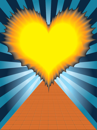 flaming heart:  The flaming heart in the end of the tracks on the background radiation. Illustration