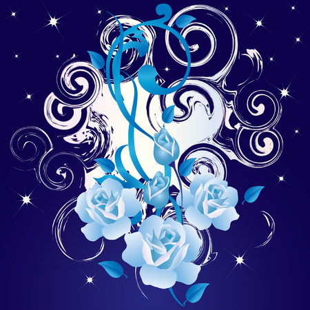 Abstract background with blue roses. Vector