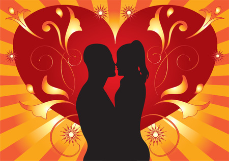 The silhouette of lovers against the background of hearts, flowers and rays.