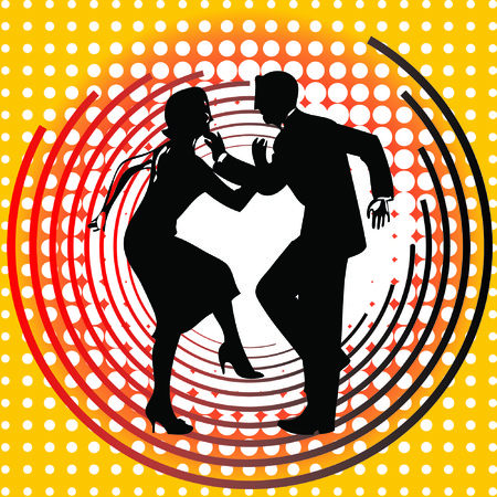 The silhouette of dancing couples at a circular background.