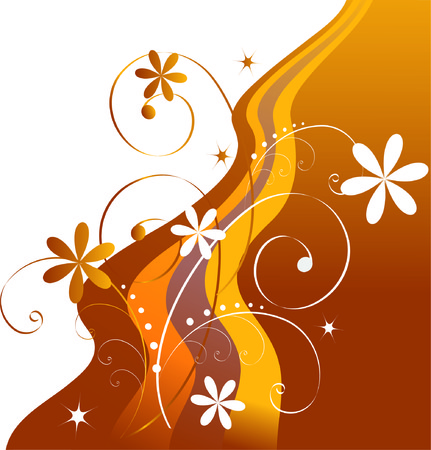 Abstract background of yellow-brown flowers and ribbons.