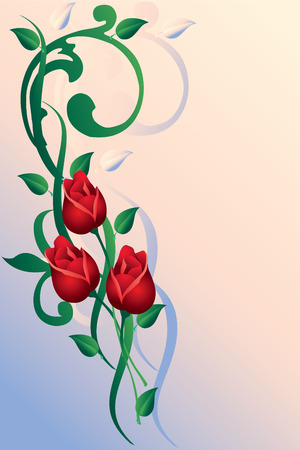 delightfully: Ornament with buds of roses in pink-blue background.
