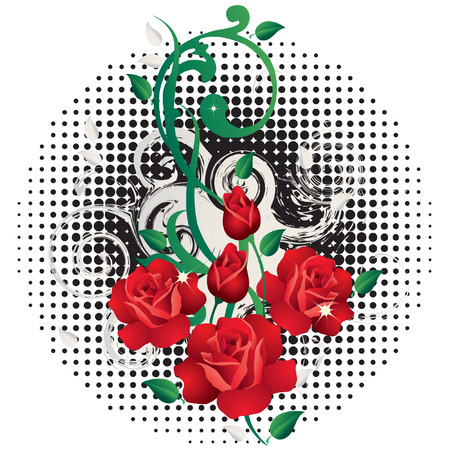 delightfully: Abstract background with roses.  Illustration