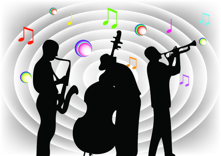 Silhouettes of musicians on the background of gray folds. Vector