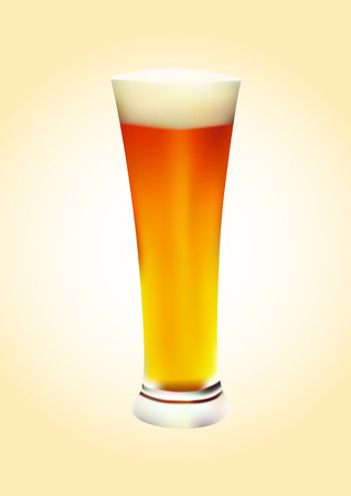 amenities: Insulated glass of beer on an orange background.  Illustration