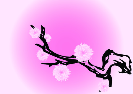 Abstract branch of a flowering tree on a pink background. Stock Vector - 6386642