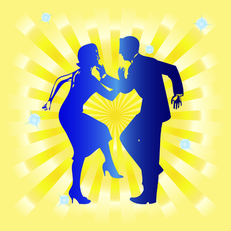tango: Silhouette of couples dancing against a background of yellow rays.
