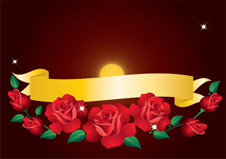 Banner and red roses on a brown background with rays and stars. Vector