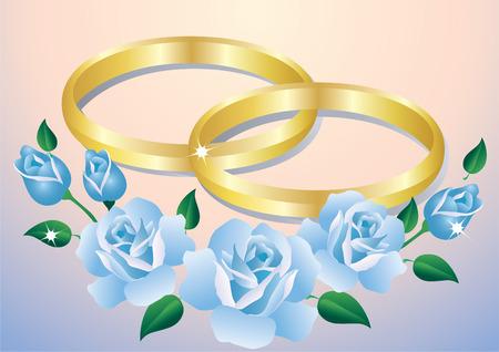 Trouw ringen en blauwe rozen in roze en blauwe achtergrond.