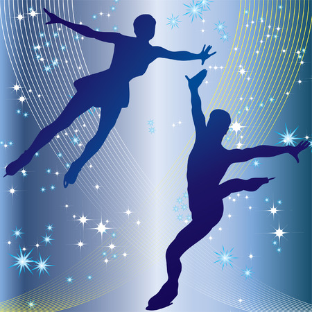 Silhouette of professional woman and man figure skater in the background of stars.