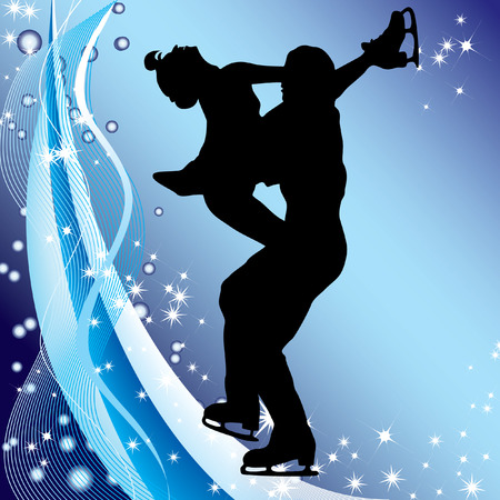 Silhouette of couples dancing on the ice against the background of ribbons and stars. Vector