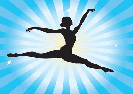 A silhouette of a ballerina in a jump on the background radiation.