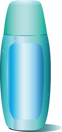 Isolated blue bottle of shampoo on a white background.