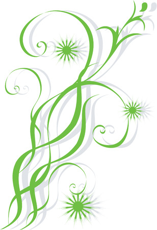 Abstract green branch on a white background. Stock Vector - 6484088
