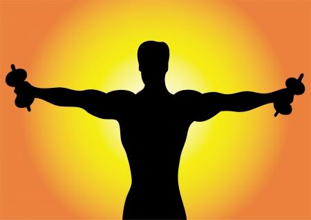 muscle training: Hombre de silueta con pesas.  Vectores