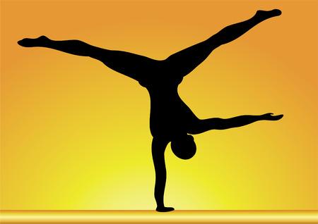 gymnastic: silhouette of gymnast.