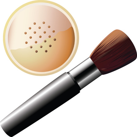 powder and brush for makeup. Stock Vector - 6484108