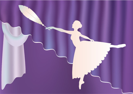 Silhouette of dancers ballerina and feather with and purple curtains.  Vector